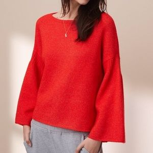 LOU & GREY | sz L red rib trim bell sleeve sweater